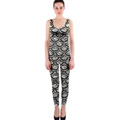 Scales2 Black Marble & Silver Foil Onepiece Catsuit