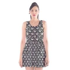 Scales2 Black Marble & Silver Foil Scoop Neck Skater Dress