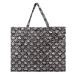 Scales2 Black Marble & Silver Foil Zipper Large Tote Bag