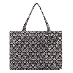 Scales2 Black Marble & Silver Foil Medium Tote Bag