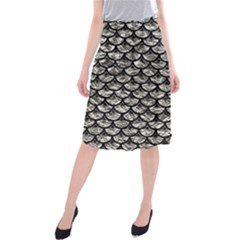 Scales3 Black Marble & Silver Foil Midi Beach Skirt