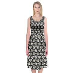 Scales3 Black Marble & Silver Foil Midi Sleeveless Dress