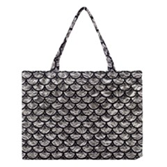Scales3 Black Marble & Silver Foil Medium Tote Bag
