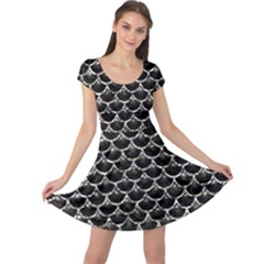 Scales3 Black Marble & Silver Foil (r) Cap Sleeve Dress