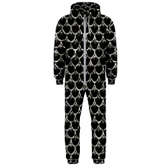 Scales3 Black Marble & Silver Foil (r) Hooded Jumpsuit (men)