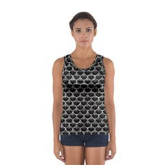 Scales3 Black Marble & Silver Foil (r) Sport Tank Top