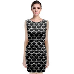 Scales3 Black Marble & Silver Foil (r) Classic Sleeveless Midi Dress