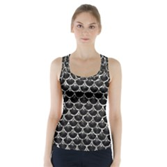 Scales3 Black Marble & Silver Foil (r) Racer Back Sports Top