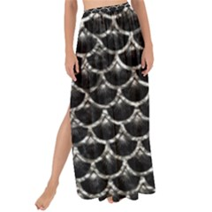 Scales3 Black Marble & Silver Foil (r) Maxi Chiffon Tie Up Sarong