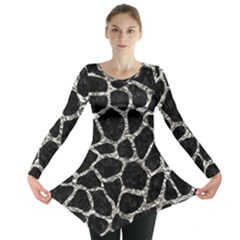 Skin1 Black Marble & Silver Foil Long Sleeve Tunic