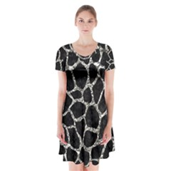 Skin1 Black Marble & Silver Foil Short Sleeve V Neck Flare Dress