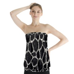 Skin1 Black Marble & Silver Foil Strapless Top
