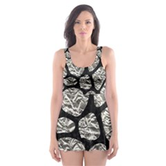 Skin1 Black Marble & Silver Foil (r) Skater Dress Swimsuit