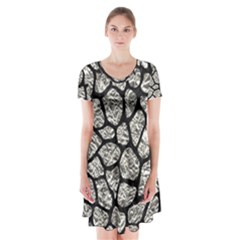 Skin1 Black Marble & Silver Foil (r) Short Sleeve V Neck Flare Dress