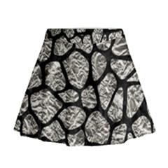 Skin1 Black Marble & Silver Foil (r) Mini Flare Skirt