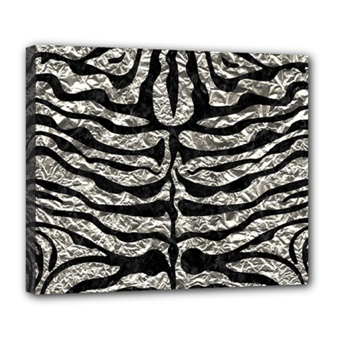 Skin2 Black Marble & Silver Foil Deluxe Canvas 24  X 20