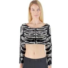 Skin2 Black Marble & Silver Foil Long Sleeve Crop Top