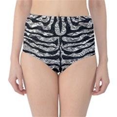 Skin2 Black Marble & Silver Foil High Waist Bikini Bottoms