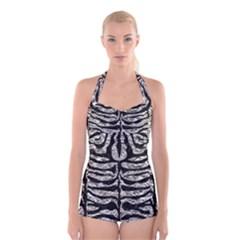 Skin2 Black Marble & Silver Foil Boyleg Halter Swimsuit