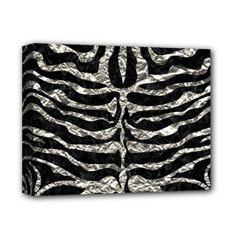 Skin2 Black Marble & Silver Foil (r) Deluxe Canvas 14  X 11