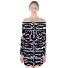 Skin2 Black Marble & Silver Foil (r) Long Sleeve Off Shoulder Dress