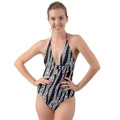 Skin3 Black Marble & Silver Foil Halter Cut Out One Piece Swimsuit