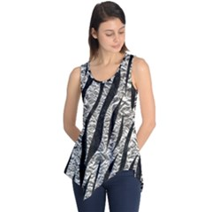 Skin3 Black Marble & Silver Foil Sleeveless Tunic