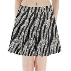 Skin3 Black Marble & Silver Foil Pleated Mini Skirt
