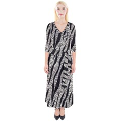 Skin3 Black Marble & Silver Foil Quarter Sleeve Wrap Maxi Dress