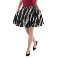 Skin3 Black Marble & Silver Foil (r) A Line Pocket Skirt