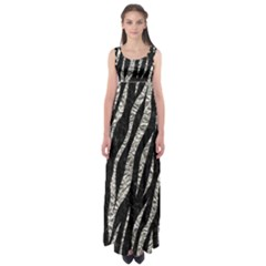 Skin3 Black Marble & Silver Foil (r) Empire Waist Maxi Dress
