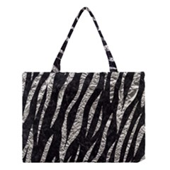 Skin3 Black Marble & Silver Foil (r) Medium Tote Bag