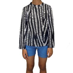 Skin4 Black Marble & Silver Foil Kids  Long Sleeve Swimwear