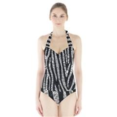 Skin4 Black Marble & Silver Foil Halter Swimsuit