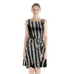 Skin4 Black Marble & Silver Foil Sleeveless Waist Tie Chiffon Dress