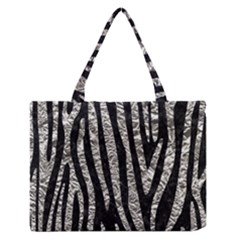 Skin4 Black Marble & Silver Foil Zipper Medium Tote Bag