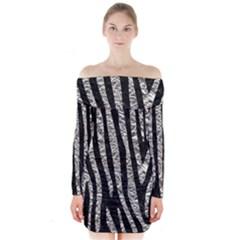 Skin4 Black Marble & Silver Foil Long Sleeve Off Shoulder Dress