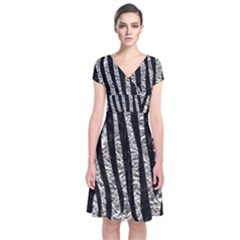 Skin4 Black Marble & Silver Foil (r) Short Sleeve Front Wrap Dress