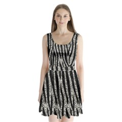 Skin4 Black Marble & Silver Foil (r) Split Back Mini Dress