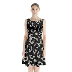 Skin5 Black Marble & Silver Foil Sleeveless Waist Tie Chiffon Dress