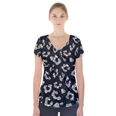 Skin5 Black Marble & Silver Foil Short Sleeve Front Detail Top