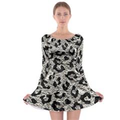 Skin5 Black Marble & Silver Foil (r) Long Sleeve Skater Dress