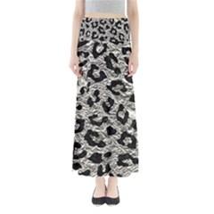 Skin5 Black Marble & Silver Foil (r) Full Length Maxi Skirt