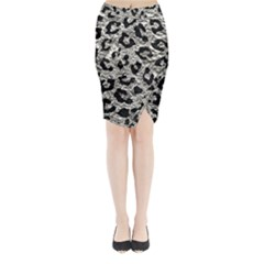 Skin5 Black Marble & Silver Foil (r) Midi Wrap Pencil Skirt