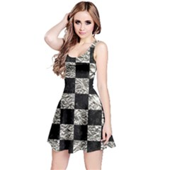Square1 Black Marble & Silver Foil Reversible Sleeveless Dress