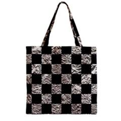 Square1 Black Marble & Silver Foil Zipper Grocery Tote Bag