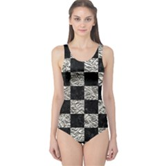 Square1 Black Marble & Silver Foil One Piece Swimsuit