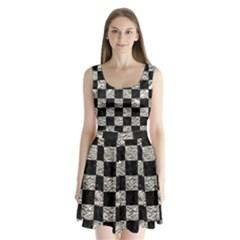 Square1 Black Marble & Silver Foil Split Back Mini Dress