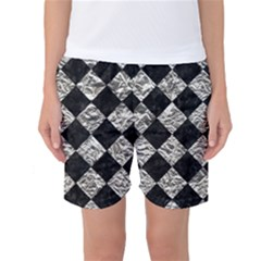 Square2 Black Marble & Silver Foil Women s Basketball Shorts