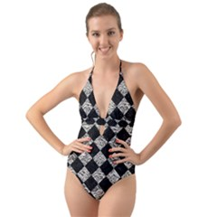 Square2 Black Marble & Silver Foil Halter Cut Out One Piece Swimsuit